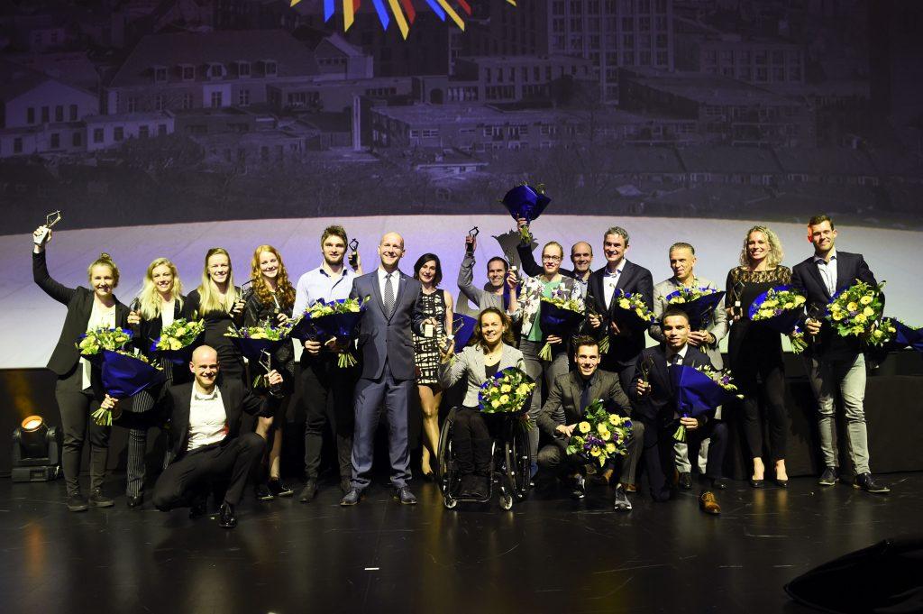 De winnaars van het Gelders Sportgala 2017 op het podium