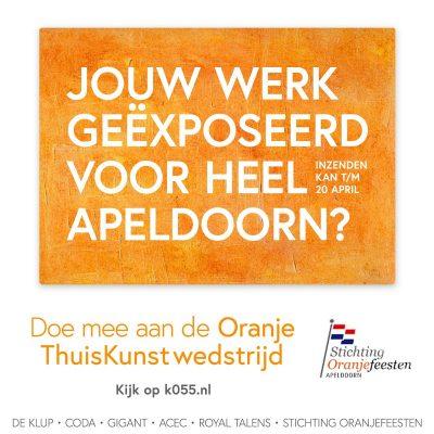 Thuiskunstactiviteit voor alle inwoners van Apeldoorn e.o. voor Koningsdag