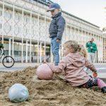 Tijdelijke zandbak maakt plaats voor het echte werk